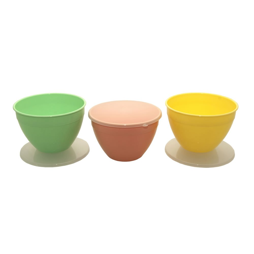 Just Pudding Basins with Lids Silver Coloured Plastic Basin /& Lid 3 Bowl Sizes