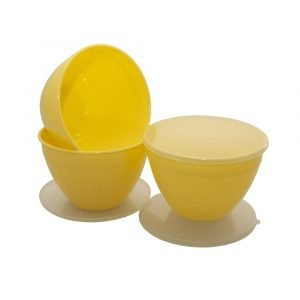 Yellow Pudding Basins and Lids 3 Pints