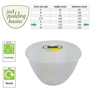 3 Pint Pudding Basin and Lid size