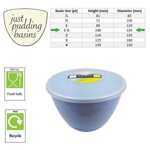 1.5 Pint Blue Pudding Basin with Lid size
