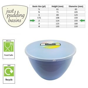 2 Pint Blue Pudding Basin with Lid size