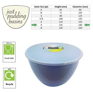 3 Pint Blue Pudding Basin with Lid size