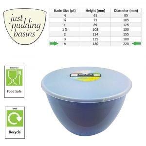 4 Pint Blue Pudding Basins with Lids size