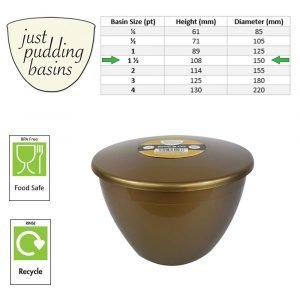 1.5 Pint Gold Pudding Basin with Lid size
