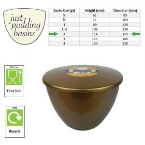 2 Pint Gold Pudding Basin with Lid size