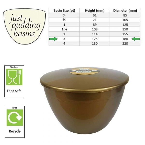 3 Pint Gold Pudding Basin with Lid size