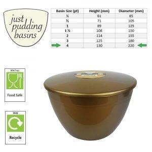 4 Pint Gold Pudding Basins with Lids size