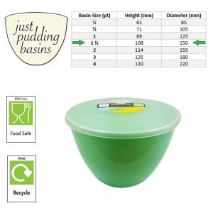 1.5 Pint Green Pudding Basin with Lid size