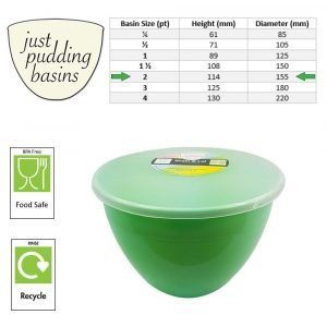 2 Pint Green Pudding Basin with Lid size