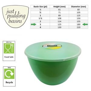3 Pint Green Pudding Basin with Lid size