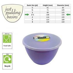 Lilac pudding basin sizes
