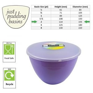 2 Pint Lilac Pudding Basin with Lid size