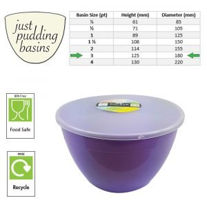 3 Pint Lilac Pudding Basin with Lid size