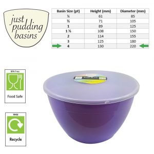 4 Pint Lilac Pudding Basins with Lids size