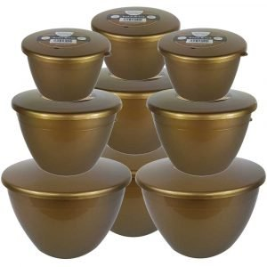 9 Gold Coloured Pudding Basins