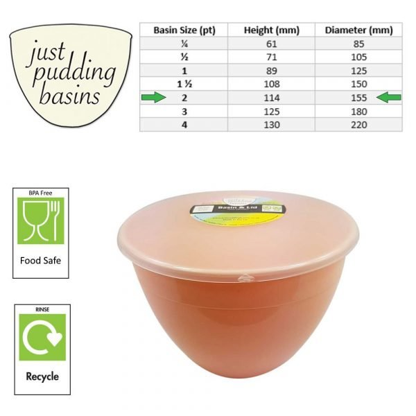 2 Pint Peach Pudding Basin with Lid size
