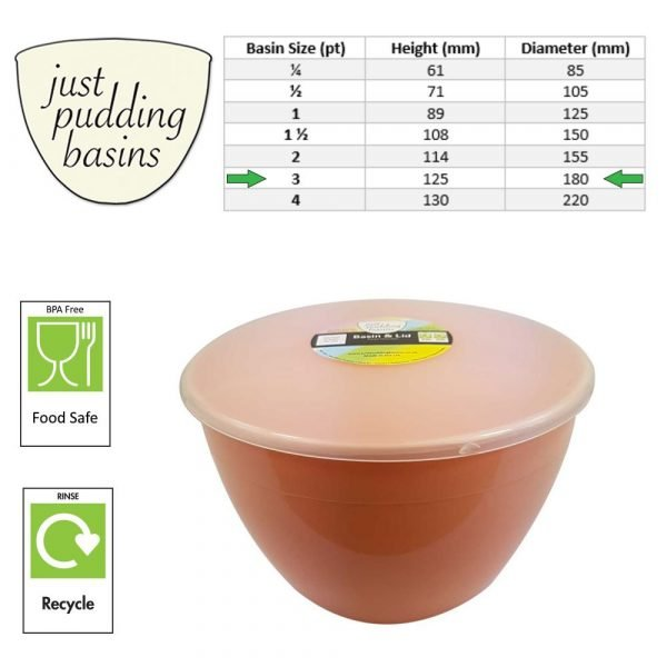 3 Pint Peach Pudding Basin with Lid size