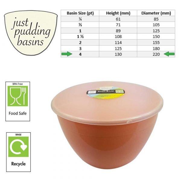 4 Pint Peach Pudding Basins with Lids size