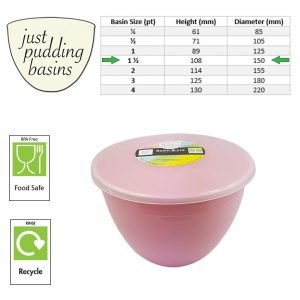 1.5 Pint Pink Pudding Basin with Lid Size
