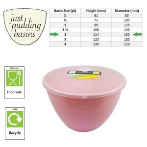 2 Pint Pink Pudding Basin with Lid size