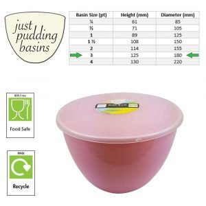 3 Pint Pink Pudding Basin with Lid size
