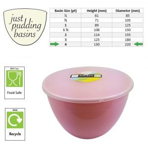 4 Pint Pink Pudding Basins with Lids size