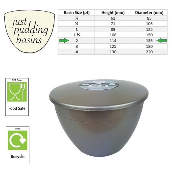 2 Pint Silver Pudding Basin with Lid size