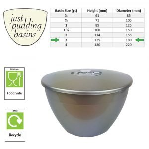 3 Pint Silver Pudding Basin with Lid size