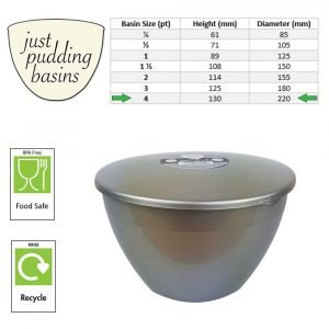 4 Pint Silver Pudding Basins with Lids size