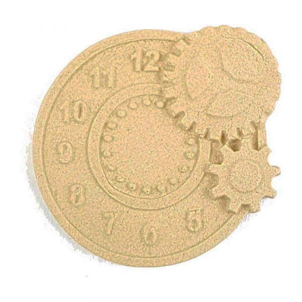 Small Clock Face with Cogs Wooden Moulding 5cm x 5cm