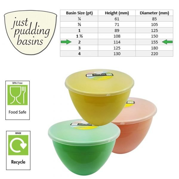 2 Pint Spring Collection Pudding Basins with Lids size info