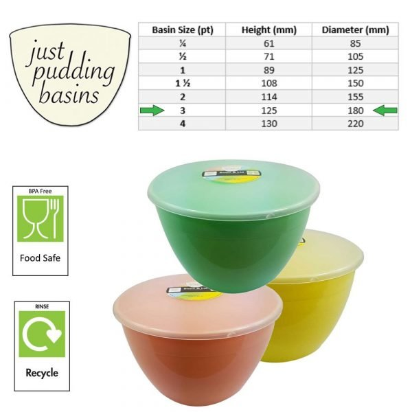 3 Pint Spring Collection Pudding Basins with Lids size