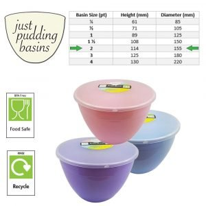 2 Pint Summer Collection Pudding Basins with Lids size
