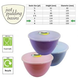 3 Pint Summer Collection Pudding Basins with Lids size