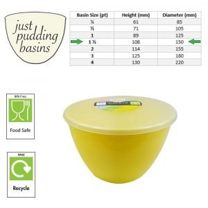 1.5 Pint Yellow Pudding Basin with Lid size