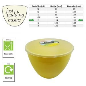 2 Pint Yellow Pudding Basin with Lid size