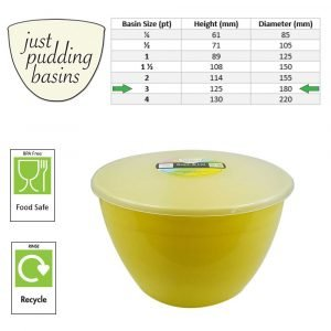 3 Pint Yellow Pudding Basin with Lid size