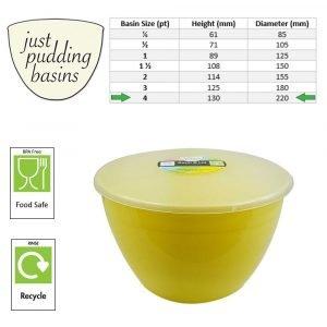 4 Pint Yellow Pudding Basins with Lids size