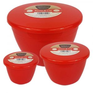 Red Pudding Basins and Lids