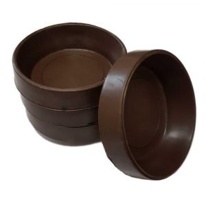 Brown Rubber Castor Cups Protect Wooden, Laminate, Tiled Floors and Carpets from Wheel Damage and Scratches Caused by Chair, Bed, Sofa and Table LegsSize Small (Internal 45mm)Size Large (Internal 60mm)