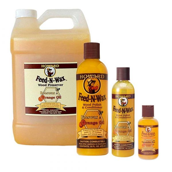 Howard Feed N Wax enhances the natural beauty and depth of grain in finished and unfinished wood. Polishes all wood surfaces to a soft lustre and protects with a coating of natural waxes.  Prevents drying and deterioration of all wood finishes.Maintains the restored finish after using Restor-A-Finish®. Feed-N-Wax has a unique gel-like consistency making very easy to apply, it should be used every month or so or whenever the finish looks dry or faded. Recommended for finishes that are cracked or crazed to prevent further drying or deterioration and to help preserve the wood finish.  On unfinished wood, helps introduce natural oils to the wood to prevent drying out.Our original blend of beeswax, Brazilian carnauba wax, mineral oil, and orange oil is the perfect product to enhance the natural beauty and depth of grain in all woods, finished and unfinished. Feed-N-Wax was developed as the best follow-up to Restor-A-Finish for maintaining the newly restored finish.Contains no silicone or linseed oils. Not intended for food-prep surfaces. For food-prep surfaces use Howard Butcher Block Conditioner or Cutting Board Oil.