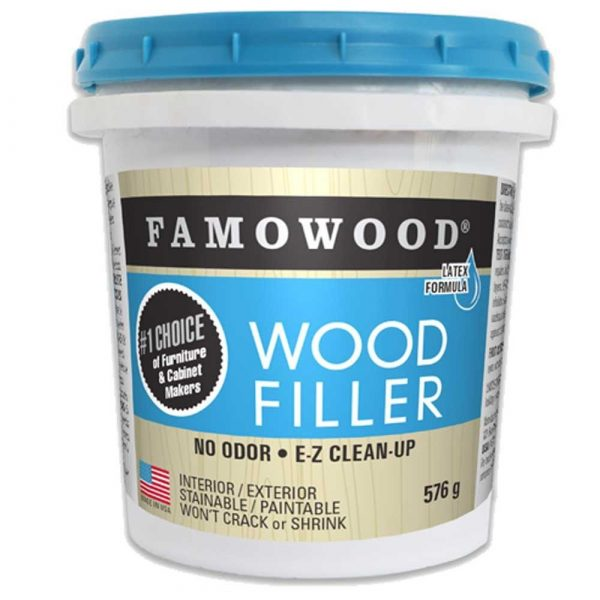 Famowood Latex Wood Filler Natural | Other colours/shades can be found by clicking here.INSTRUCTIONS FOR SAFE USEFollow these step-by-step directions when using FAMOWOOD Latex Wood Filler:1. For best adhesion, cracks or defects should be clean and dry.2. Press firmly into defect by hand or putty knife.3. A thin film will dry within minutes. Lower temperatures require longer drying periods.4.When dry, sand flush with surrounding surfaces.5. Surfaces may be painted, varnished, lacquered, waxed, or shellacked, after FAMOWOOD application.6. FAMOWOOD can be drilled, nailed, planed, or sawed like ordinary wood.7. Clean tools, while still wet, with water or soap and water. If the product has dried on tools, use chlorinated solvent or steam.8. Close container after each use.