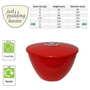 Red 3 Pint Basin Size Chart