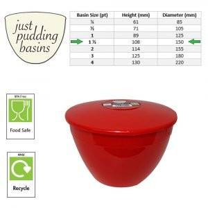 1.5 pt Red Pudding Basin size