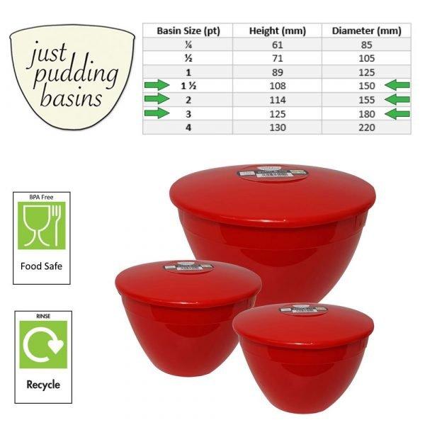Red Plastic Pudding Basins